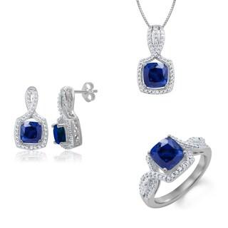 Rhodium-plated Brass Diamond Accent and Blue Sapphire 3-piece Jewelry Set