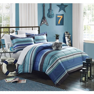 Chic Home Blue Striped 8-piece Bed in a Bag with Sheet Set