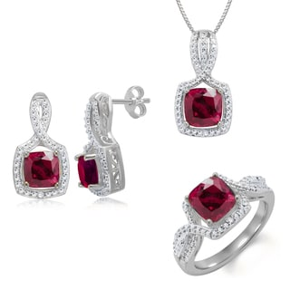 Rhodium-plated Brass Diamond Accent and Created Ruby 3-piece Jewelry Set