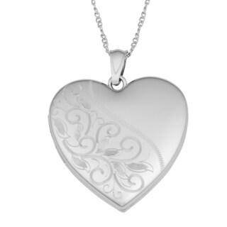 Fremada Rhodium Plated Sterling Silver Leaf Vine Heart Locket Pendant Necklace