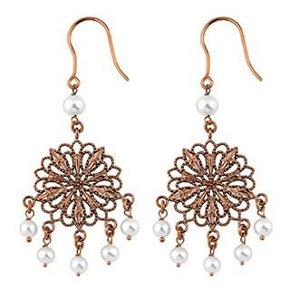Oro Rosa 18k Rose Gold Over Bronze Freshwater Pearls Filigree Dangle Earrings