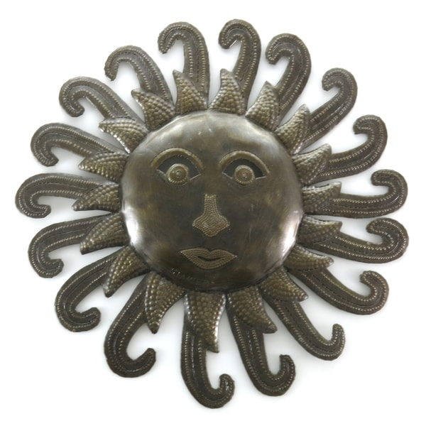 Handcrafted Recycled Steel Drum Sun Wall Art (Haiti)