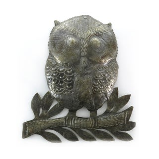 Handcrafted Recycled Steel Drum Owl on a Branch Wall Art (Haiti)