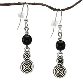 Jewelry by Dawn Pewter Double Swirl Black Dangle Earrings