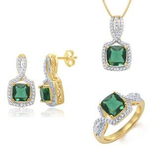 14k Yellow Gold overlay Created Emerald Diamond Accent 3-piece Jewelry Set