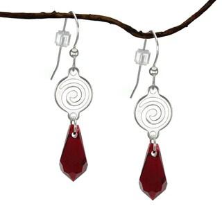 Jewelry by Dawn Silverplated Swirl Red Crystal Teardrop Earrings