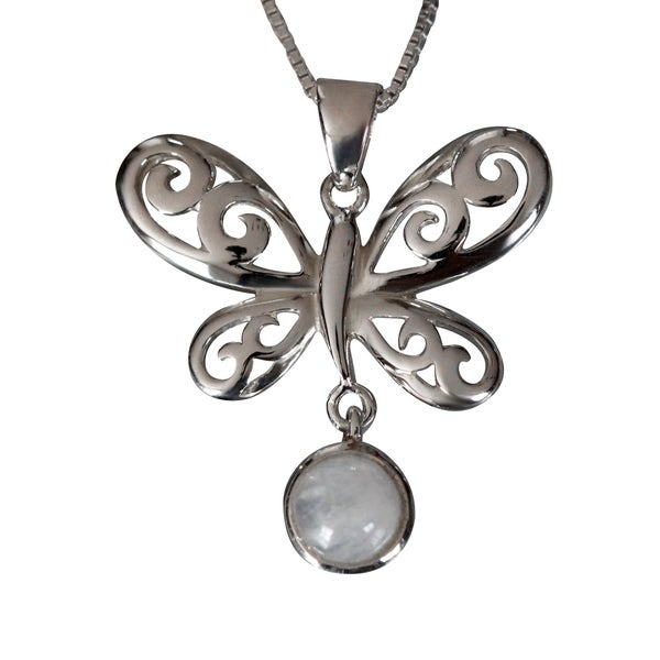 Handmade Sterling Silver Round Moonstone Butterfly Design Necklace (Thailand) 15066229