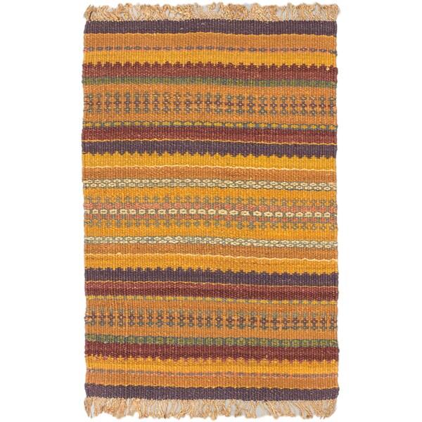 Ecarpet Gallery Palas Light Brown Jute Stripe patterns Kilim Rectangular (3'10 x 5'9)