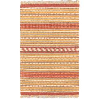 Ecarpet Gallery Palas Dark Gold, Dark Orange-Red Jute Stripe patterns Kilim Rectangular (5'0 x 8'0)