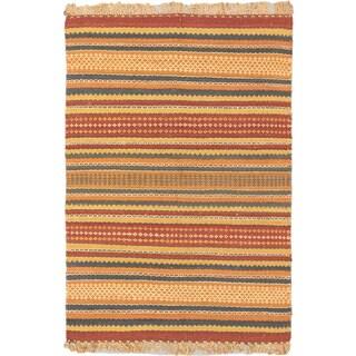 Ecarpet Gallery Palas Dark Gold, Dark Red Jute Stripe patterns Kilim Rectangular (5'6 x 8'0)