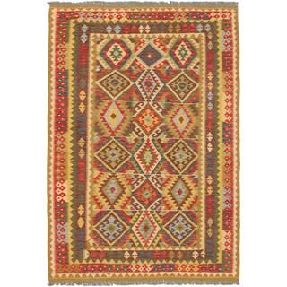 Ecarpet Gallery Sivas Light Gold, Light Red Wool Geometric Kilim Rectangular (5'9 x 8'4)