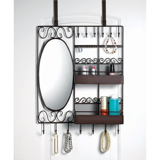 Home Basics Over-the-Door Vanity Scroll Jewelry and Cosmetic Organizer