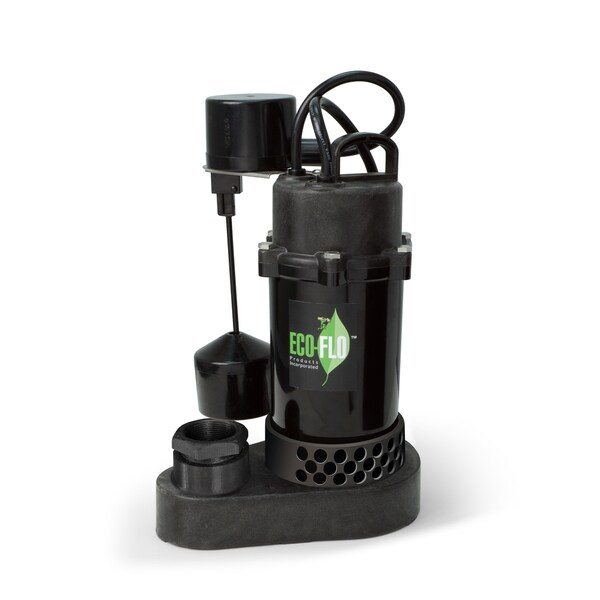 ECO-FLO Products SPP25V 1/4 HP 1750 GPH Thermoplastic Sump Pump with Vertical Angle Switch