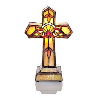 """River of Goods 13"""" H Stained Glass 2-light Amber Cross Accent Lamp"""