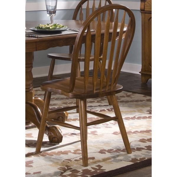 Nostalgia Traditional Oak Arrowback Windsor Side Chair