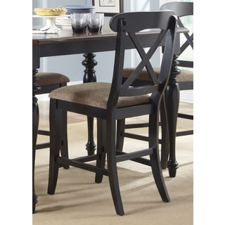 """Abbey Court Black and Cherry Upholstered X Back 24"""" Barstool"""