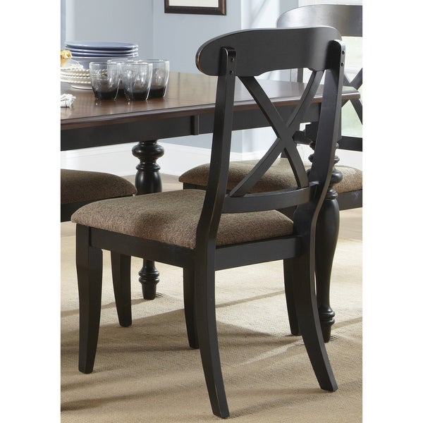 Abbey Court Black and Cherry X-Back Upholstered Side Chair