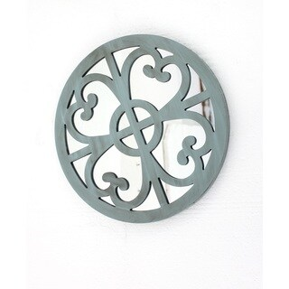 Round Blue Wood Mirror Wall Decor (Set of 2)