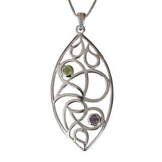 Sterling Silver Peridot and Amethyst Filigree Leave Necklace (Thailand)