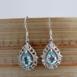 Sterling Silver Elegant Pear Drop Blue Topaz Earrings (Thailand)