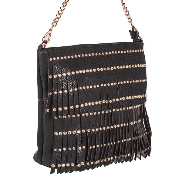 Ashia Fringe Studded Shoulder Handbag