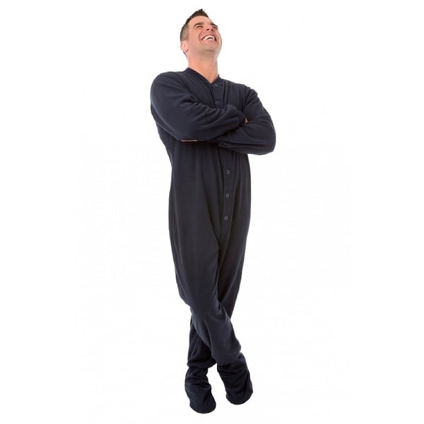 Adult Navy Blue Jersey Knit Footed Pajamas