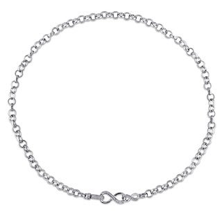 Miadora Sterling Silver 1/10ct TDW Diamond Link Infinity Necklace (G-H, I2-I3)