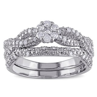 Miadora Sterling Silver 3/8ct TDW Diamond Bridal Ring Set (G-H, I2-I3)