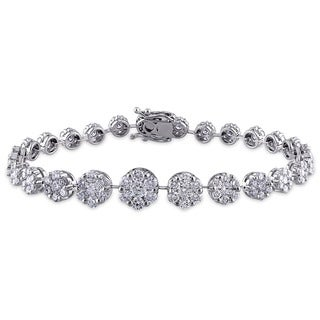 Miadora Signature Collection 18k White Gold 5 3/5ct TDW Diamond Flower Link Bracelet (G-H,SI1-SI2)