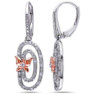Miadora Two-Tone Sterling Silver White Topaz and 1/5ct TDW Diamond Butterfly Earrings (G-H, I2-I3)