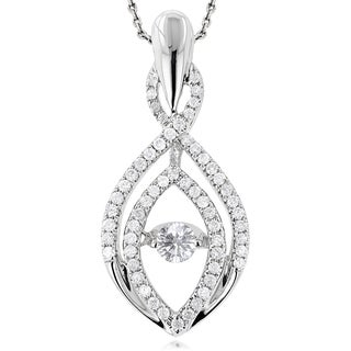 Luxurman 14k White Gold 1/2ct TDW Dancing Diamond Teardrop Necklace (G-H, VS1-VS2)
