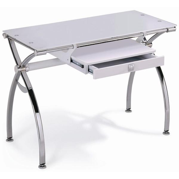 White Tempered Glass Desk with Chrome Legs - 17139426 - Overstock.com