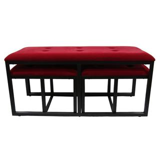 "20.5""H Red Suede Tufted Metal Bench w/ 2 Seatings"