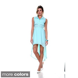 Stanzino Women's Sleeveless High-low Chiffon Shirt Dress