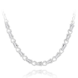 Luxurman 18k White Gold 3 3/4ct TDW Baguette Diamond Necklace (G-H, VS1-VS2)