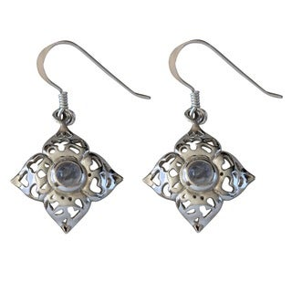 Sterling Silver Cabochon Moonstone Flower Temporary Design Earrings (Thailand)