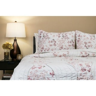 Willows Blush 100-percent Cotton Queen-size Quilt Set (India)