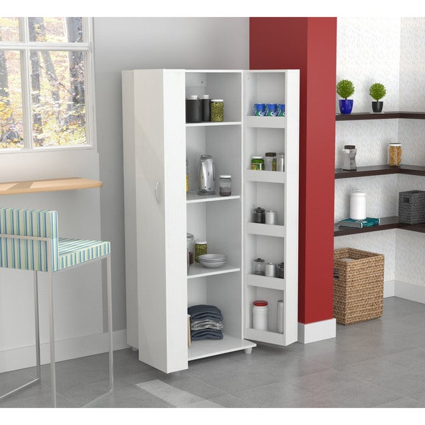kitchen storage cabinet pantry organizer with 5 shelves in white