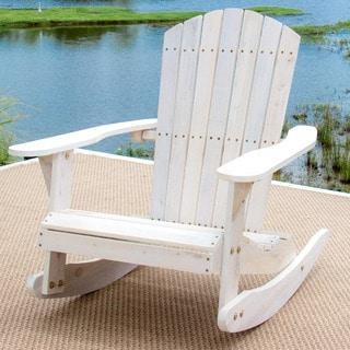 Pelican Hill Wood Adirondack Patio Rocking Chair - White