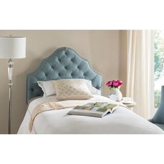 Safavieh Arebelle Sky Blue Upholstered Tufted Headboard - Silver Nailhead (Twin)