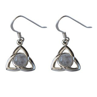Sterling Silver Celtic Cabochon Moonstone Earrings (Thailand)