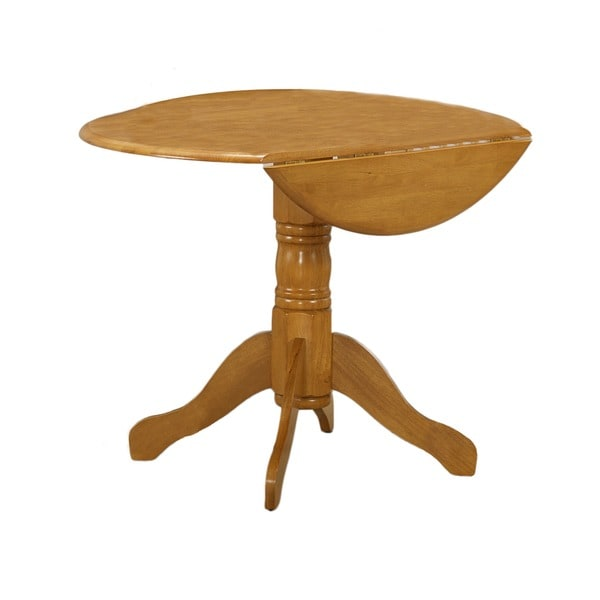 spiced oak round drop leaf dinette table 17139854