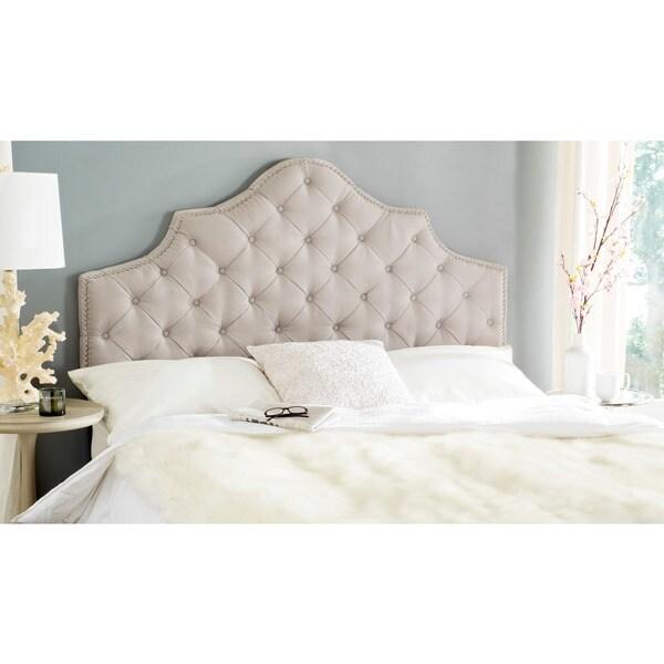 Safavieh Arebelle Grey Upholstered Tufted Headboard Silver Nailhead