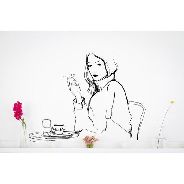 French Woman Cafe De Paris France Romantic Vinyl Wall Art