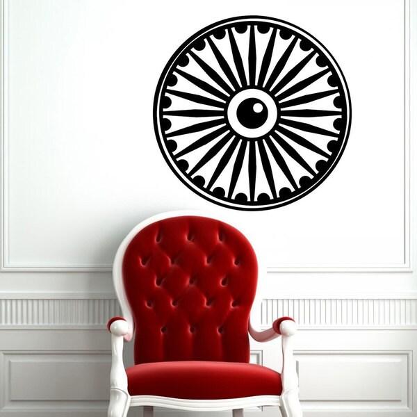 Ashok Chakra Symbol Black Vinyl Wall Art