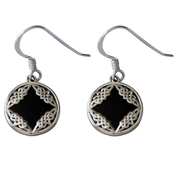 Sterling Silver Celtic Design Black Onyx Earrings (Thailand)