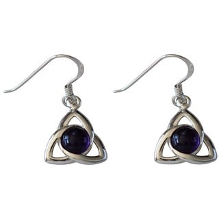 Sterling Silver Celtic Cabochon Amethyst Earrings (Thailand)