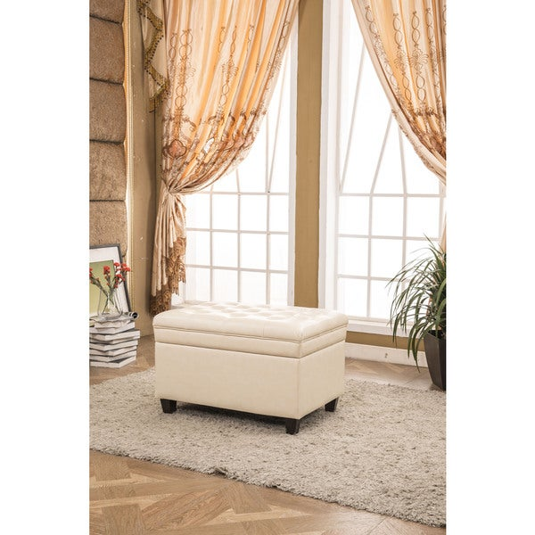 Collection Classic Waxed Texture Faux Leather Dark Tufted Storage Bench
