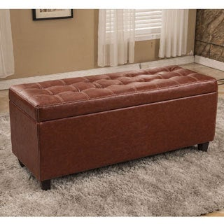Classic Brown Waxed Texture Faux Leather Storage Ottoman
