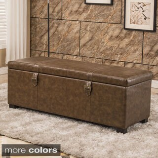 Luxury Comfort Classic Buckled Storage Bench Ottoman
